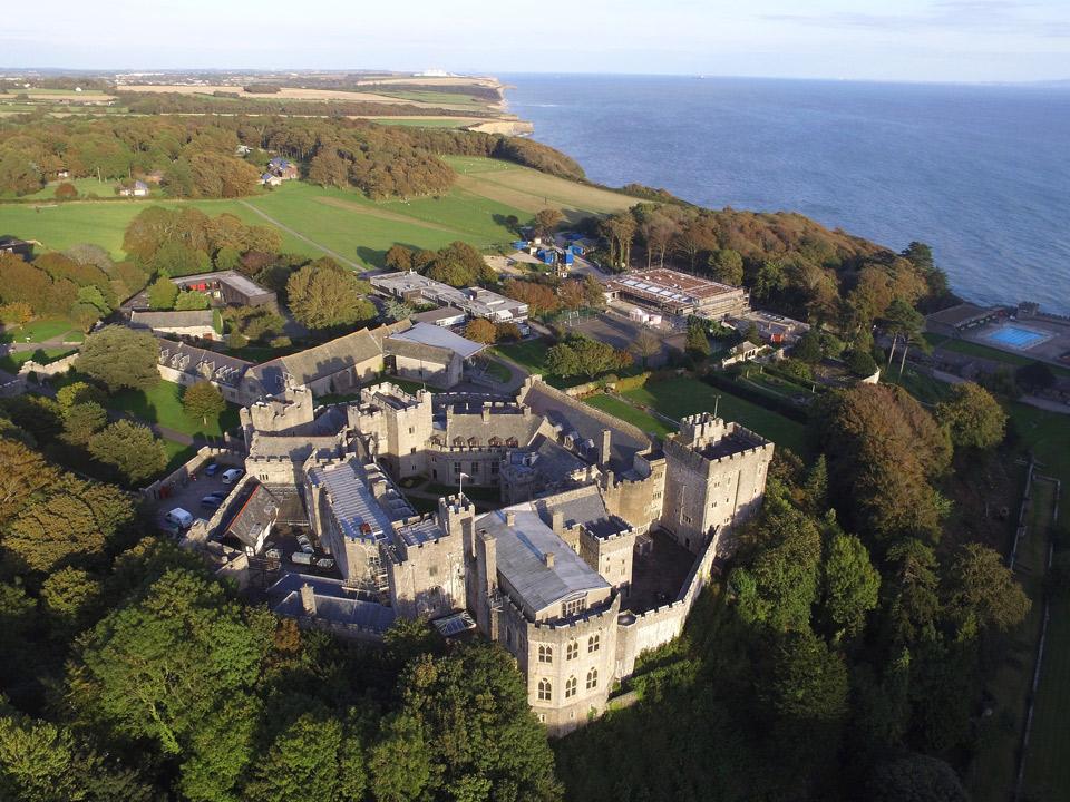 Aerial photo of St Donat's Castle, UWC Atlantic