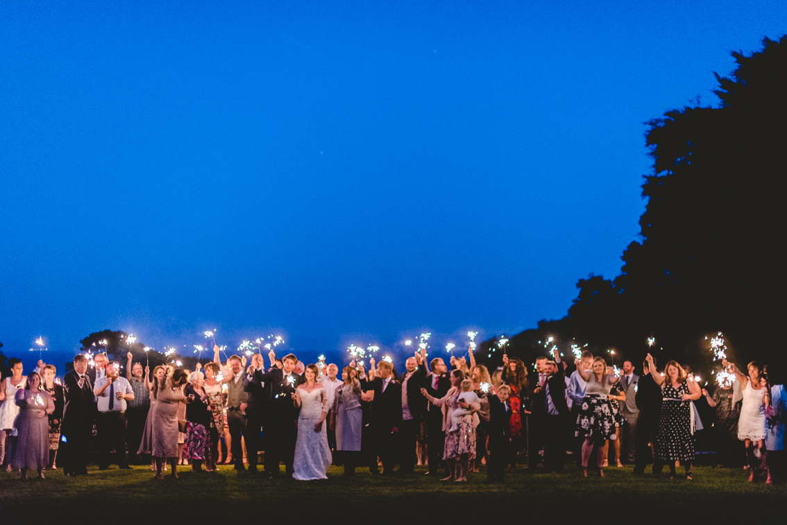 Sparklers on the Top Lawn of St Donat's Castle