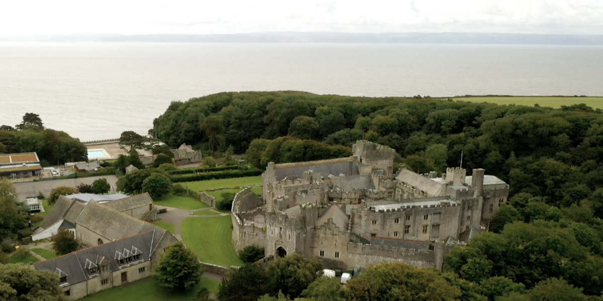 St Donat's Castle view from sky