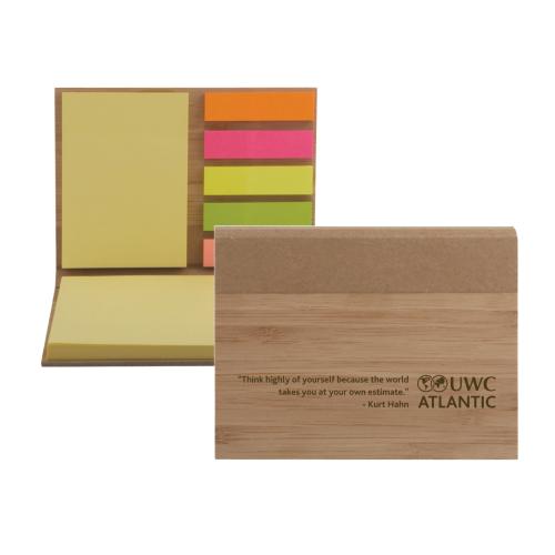 UWC Atlantic engraved Bamboo sticky note set